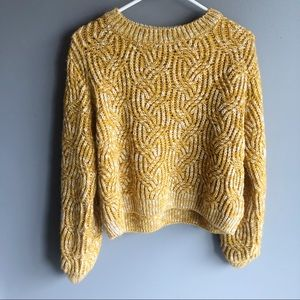 Topshop Mustard Yellow Crop Sweater